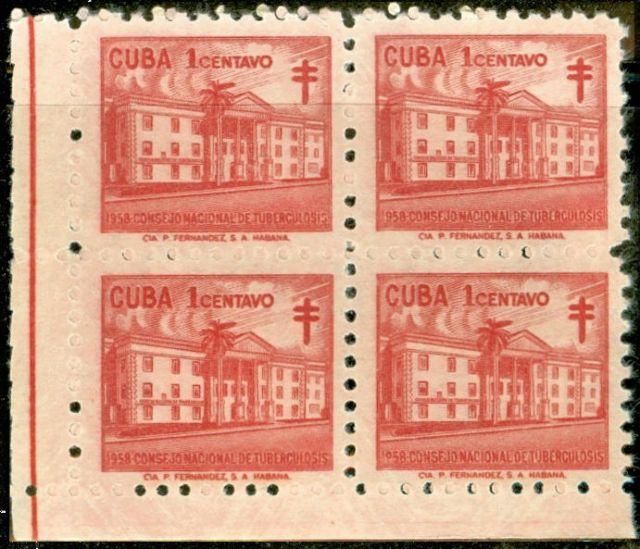 1958 11 01 SC RA39 Cuba Stamp Plate Block New 1 Cent