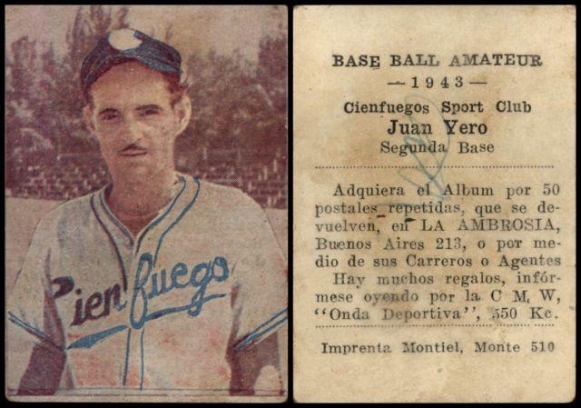 Cuba Cuban League Baseball Trading Cards Juan Yero Cienfuegos Baseball Card 1943 Cuba