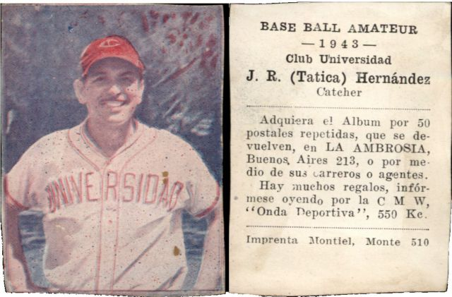 Cuba La Ambrosia Baseball Amateur Trading Cards Jose R Hernandez Universidad Baseball Card 1943 Cuba